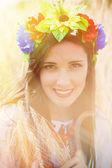 Beautiful young woman wearing national ukrainian — Stock Photo