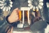 Knight holding mug of beer — Stock Photo