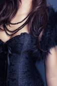 Kobieta nosi gorset i futra — Zdjęcie stockowe
