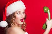 Woman in Santa Claus costume — Stock Photo