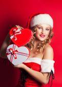 žena v kostýmu santa clause — ストック写真