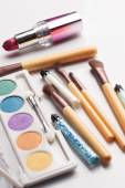 Makeup brushes and cosmetics — Stock Photo