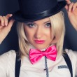 Woman wearing top hat and bow tie — Stock Photo #59162099
