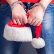Male santa hands in handcuffs — Stock Photo #59162483