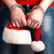 Male santa hands in handcuffs — Stock Photo #59162485