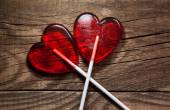 Red lollipop hearts — Stock Photo