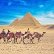 Bedouins on camel near of great pyramid in egypt — Stock Photo #65635073