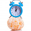 Alarm clock and orange fruit — Stock Photo #65635883