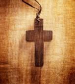 Closeup of wooden Christian cross — Stock Photo
