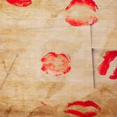 Beautiful red lips prints — Stock Photo