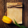 Yellow tulip with notepad — Stock Photo #71721677