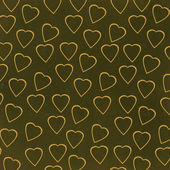 Yellow hearts on green background — Stock Photo