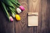 Colorful tulips with notepad — Stock fotografie