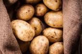Potatoes in burlap sack — Stock Photo