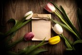 Colorful tulips with notepad — ストック写真