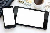 Tablet and smartphone — Stock Photo