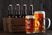 Beer glasses on table — Stock Photo