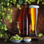Bottled beer and barrel — Stock Photo