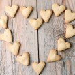 Heart shaped cookies on a wooden table for Valentine's day — Stock Photo #64009713