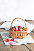 Basket with colorful sweet candies — Stock Photo