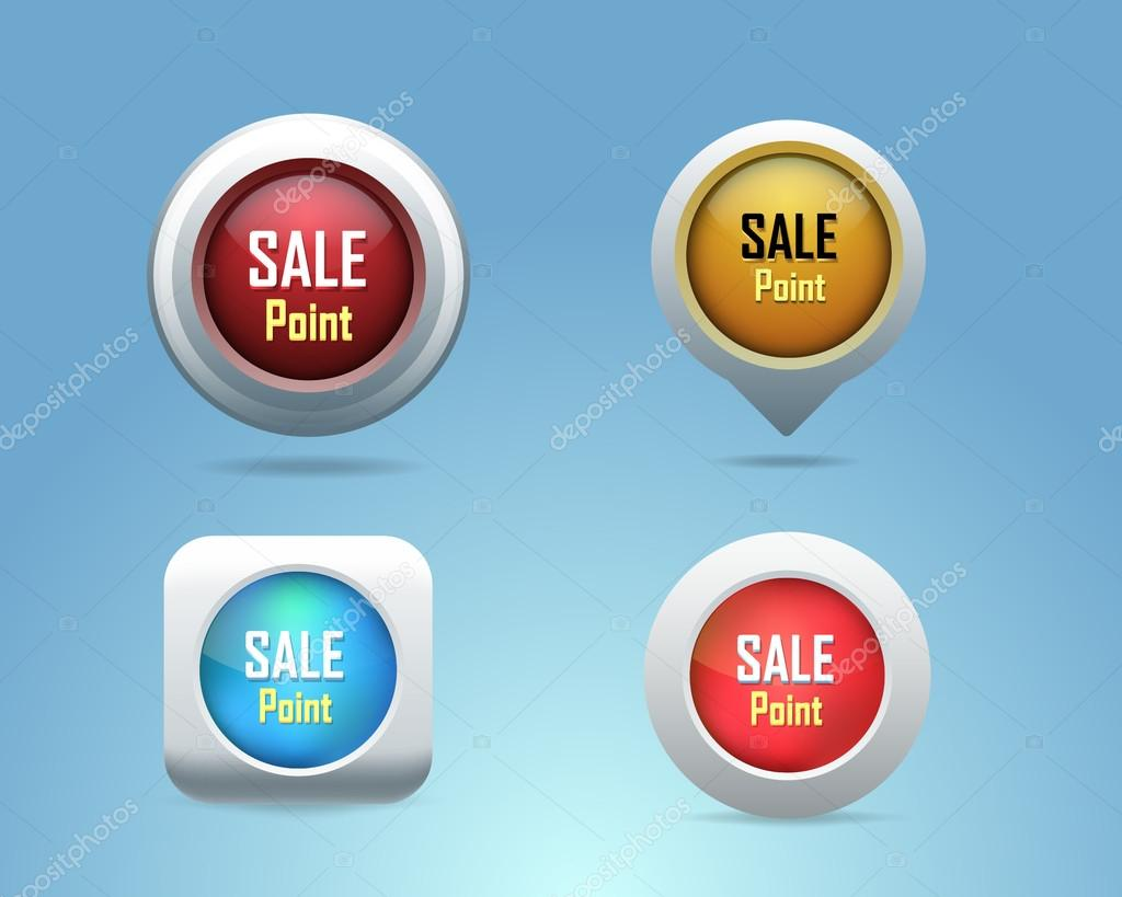 Vector Different Frames Sale Point Contact Icons Buttons – Point of Contact Template