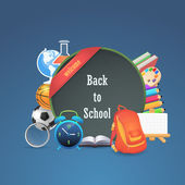 Welcome Back to School background, Vector Objects Illustration — Stock Vector