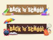 Web Banner Style Welcome Back to School background, Vector Objects Illustration — Stock Vector