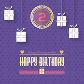 Happy Birthday Vector Design. Announcement and Celebration Message Poster, Flyer Flat Style — Stock Vector