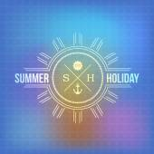 Holiday, Summer Travel, Tourism Badge on Blurred Background — Stock Vector