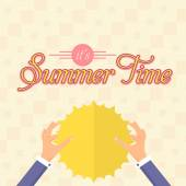 Hello Summer, Holiday, Travel Badge and Web Banner Vector Flat Design — Stock Vector