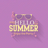 Hello Summer, Travel Badge and Web Banner Vector Flat Design — Stock Vector