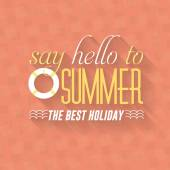 こんにちは夏、旅行バッジと web バナー ベクトル フラットなデザイン — ストックベクタ