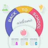 Back to School Concept Flat Infographics Vector Design — Stock Vector