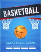 Basketball Event Poster, Flyer, Banner Template Vector Background — Stock Vector