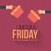 Shopping Bag Black Friday Flat Style — Stock Vector