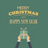 Merry Christmas and Happy New Year Flat Vector Design — Stock Vector