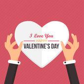 Valentine's Day Flat Vector Design — Stock Vector