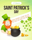 Happy Saint Patricks Day - Light-Colored Party, Celebration Background Template — Stock Vector