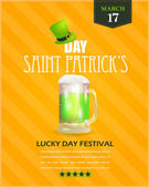 Happy Saint Patricks Day - Flyer, Poster Shine Background Template — Stock Vector