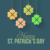 St. Patricks Day Clover Hanging Background. Flat Vector Design — Stock Vector