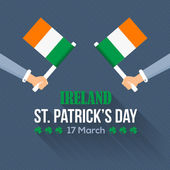 Flat Syle Happy Saint Patricks Day, Ireland National Day Hand Hold Flag — Stock Vector