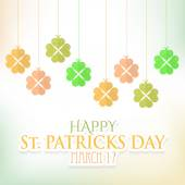 St. Patricks Day Hanging Clovers Abstract Background. Flat Vector Design — Stock Vector