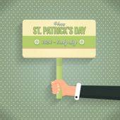 Retro Style St. Patricks Day Signboard Hold Hand Flat Design — Stock Vector