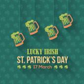 Happy Saint Patricks Day - Hanging Beer Icon, Party, Celebration Flat Design — Stock Vector