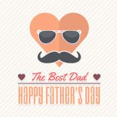 Happy Father's Day, Heart, Sunglasses and Mustache Illustration Vector Design. Announcement and Celebration Message Poster, Flyer — Stock Vector