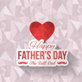 Geometric Heart Symbol and Happy Father's Day Low Poly Background. Announcement and Celebration Message Poster, Flyer — Stock Vector