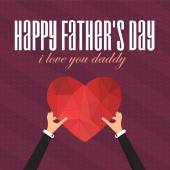 Happy Father's Day Vector Design. Announcement and Celebration Message Poster, Flyer. Polygonal Heart Symbol Hold Hand — Stock Vector