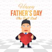 Happy Father's Day Theme, Geometric Heart Symbol Hold Businessman Flat Vector Poster, Flyer Design — Stock Vector
