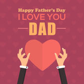 Happy Father's Day Vector Design. Announcement and Celebration Message Poster, Flyer. Heart Symbol Hold Hands Template — Stock Vector