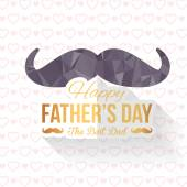 Geometric Polygonal Mustache Symbol and Happy Father's Day White Background. Announcement and Celebration Message Poster, Flyer — Stock Vector